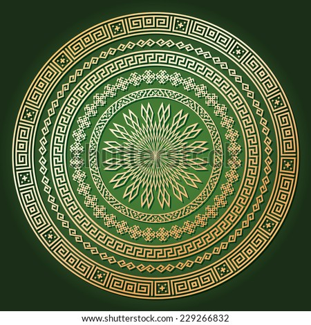 Golden ethnic round texture with shadow on dark green. Ornamental arabesque pattern background. Vector illustration. Could be used for invitation, ottoman, card design, pillow, banners, signs, etc.   - stock vector