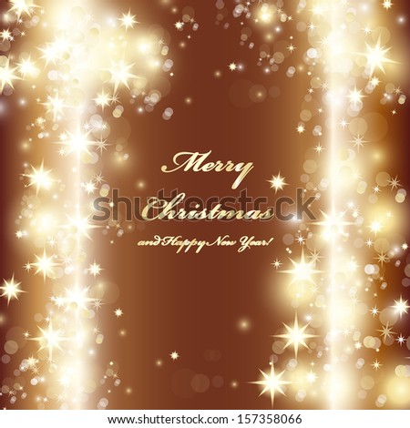 Golden Festive Christmas Background - Vector Illustration, Graphic Design Useful For Your Design