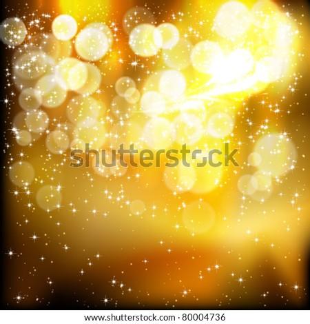 Golden festive lights background. Vector illustration. - stock vector
