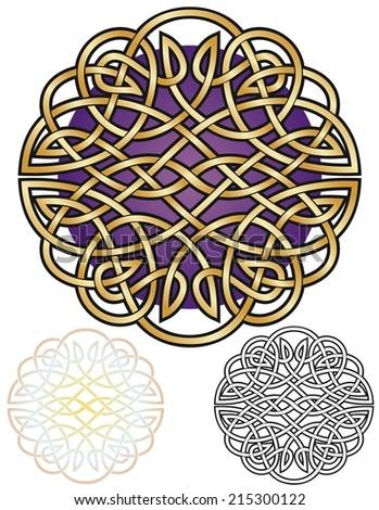 Golden filigree knotwork design, with variations - stock vector
