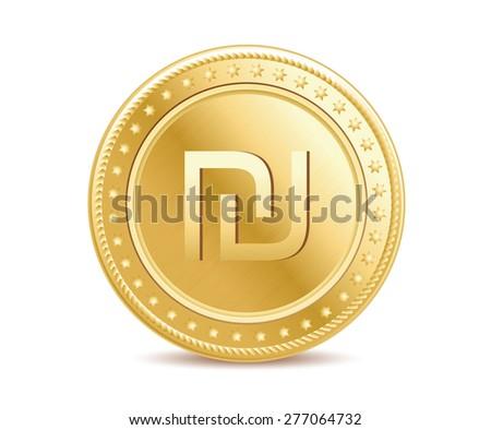 Golden finance isolated israeli shekel coin on the white background - stock vector