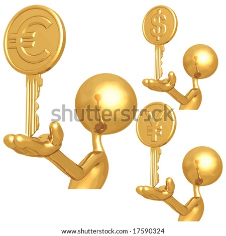 Golden Financial Keys To Success - stock vector