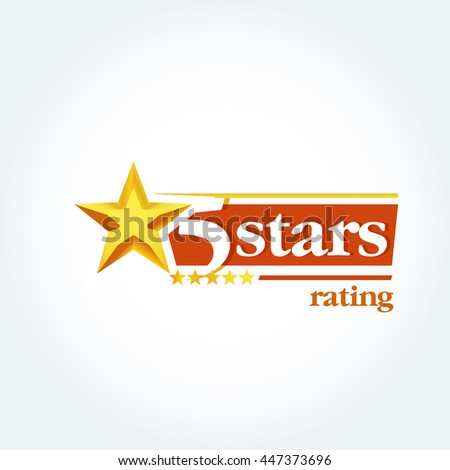 Golden Five stars logo template. Isolated Vector illustration - stock vector