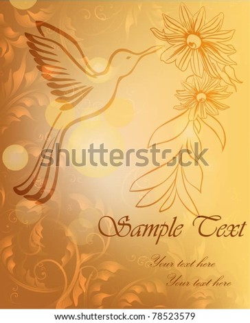 Golden floral card with hummingbird