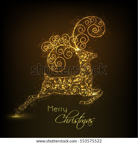 Golden floral decorated jumping Reindeer on brown background for Merry Christmas.  - stock vector