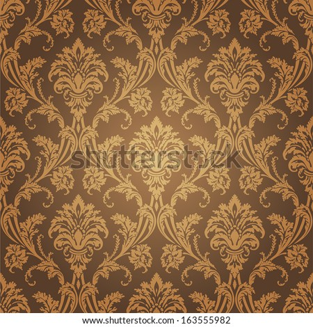 Golden Floral Wallpaper Old Style Retro Wall Coverings Pattern And Interior Design Element