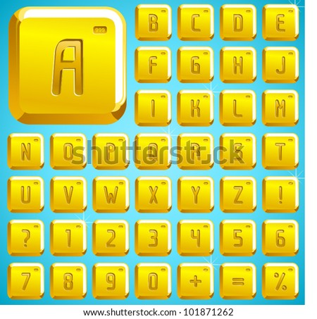 golden font and numbers icons and numbers - stock vector