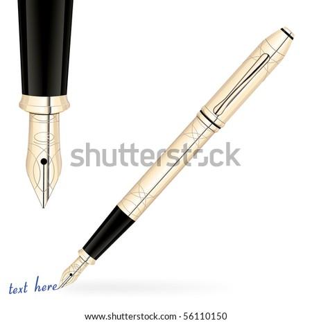 Golden fountain pen - stock vector