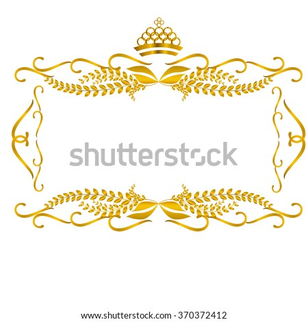 golden frame and border with crown vector illustration