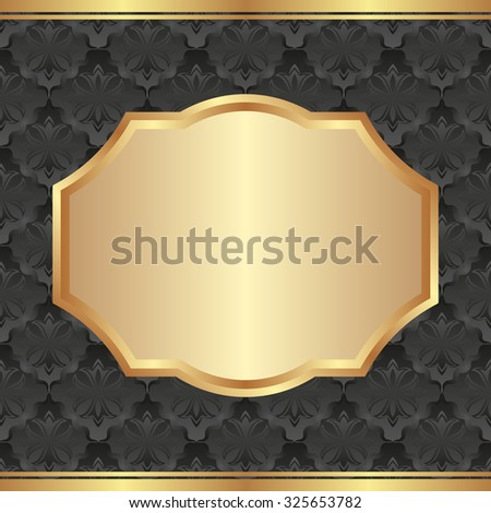 golden frame on black pattern - stock vector