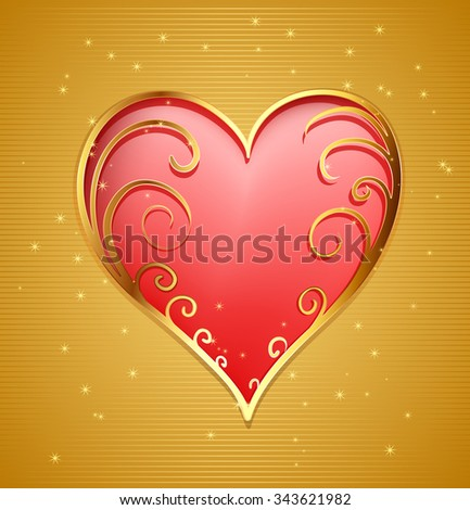 golden frame with decorative elements and stars  - stock vector