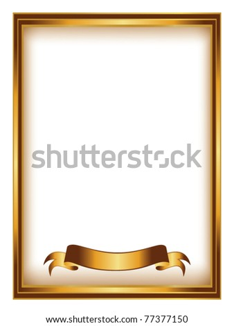 golden frame with ribbon vector - stock vector