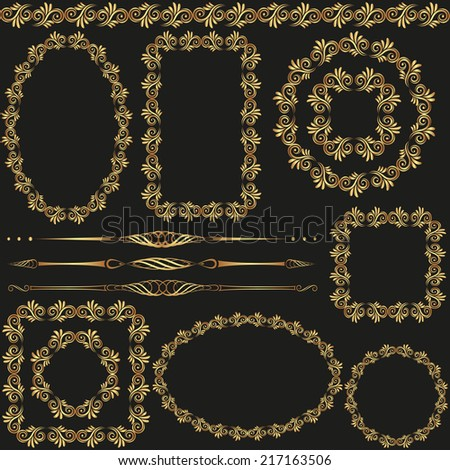 golden frames, borders and separators- design elements - stock vector