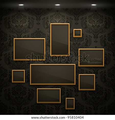 Golden frames on the wall. Vintage background. - stock vector