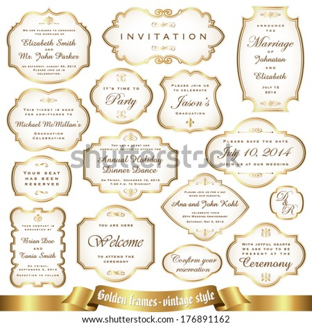 Golden frames - vintage style - stock vector