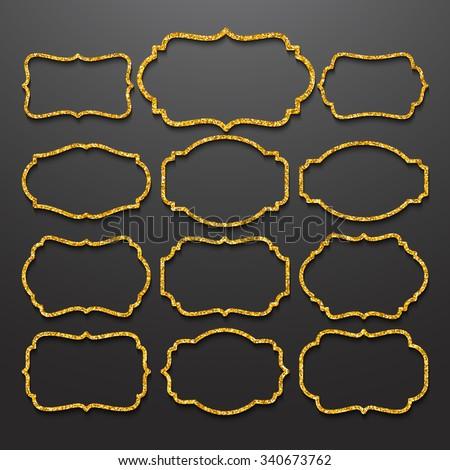 Golden frames  vintage style. Vector illustration EPS10 - stock vector
