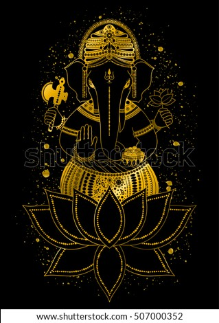 golden ganesha or ganapati indian god in the hindu in lotus flower gold