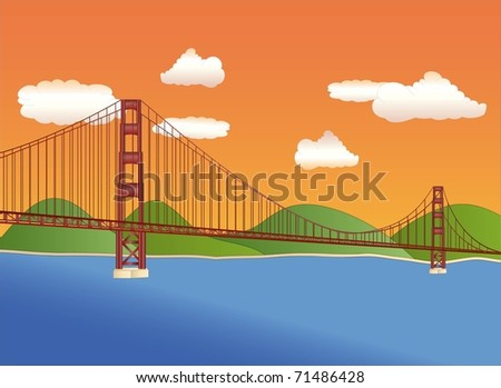 golden gate bridge at sundown ( background on separate layer ) - stock vector
