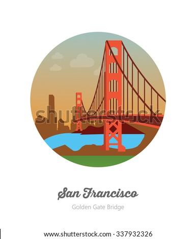 Golden Gate bridge in San Francisco America - stock vector
