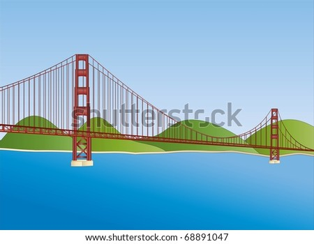 golden gate bridge in San Francisco ( background on separate layer ) - stock vector