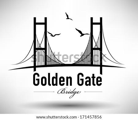 Golden Gate Bridge Typographic Design - stock vector