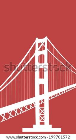 golden gate bridge vector art - stock vector