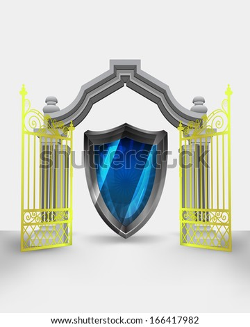 golden gate entrance with new security shield vector illustration - stock vector