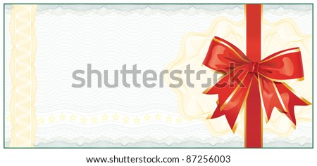 Golden Gift Certificate or Discount Coupon template / with red bow / vector - stock vector