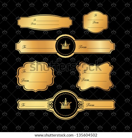 Golden Gift Tags on Damask black Background