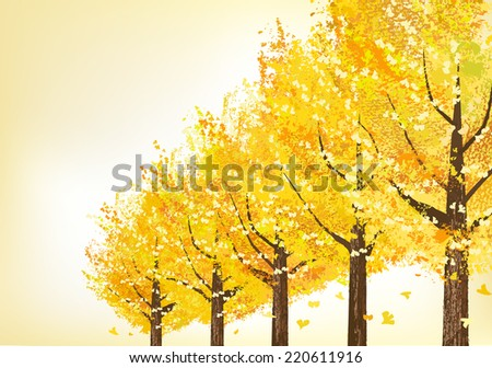 Golden ginkgo trees in late autumn.  File contains Clipping masks. - stock vector