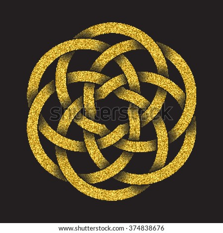 Golden glittering logo template in Celtic knots style on black background. Tribal symbol in circular mandala form. Gold ornament for jewelry design. - stock vector