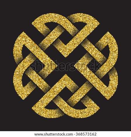 Golden glittering logo template in Celtic knots style on black background. Tribal symbol in square cruciform maze form. Gold ornament for jewelry design. - stock vector