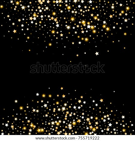 Golden glittering stars on black background stock vector 755719222 golden glittering stars on black background greeting card wedding invitation template with shimmering stopboris Images