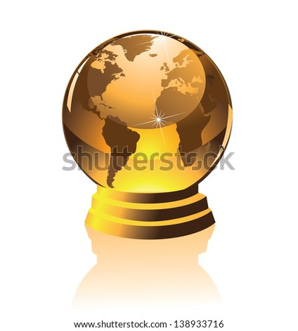 Golden globe on a pedestal. EPS 10 vector, grouped for easy editing. No open shapes or paths. Portions of this image supplied by NASA. - stock vector