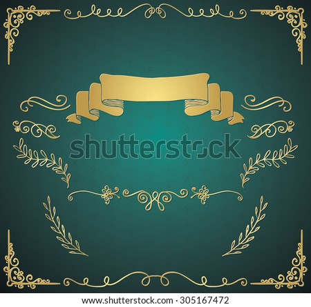 Golden Glossy Royal Vintage Invitation Greeting Card with Doodle Hand Sketched Elements. Decorative Retro Design Elements. Branches, Dividers, Swirls, Ribbon. Vector Illustration - stock vector