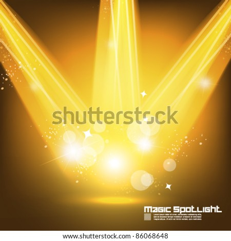 golden golden spotlight effect vector background design - stock vector