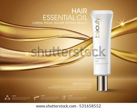 Golden hair oil ads, white tube packaging isolated on flowing oil, 3D illustration