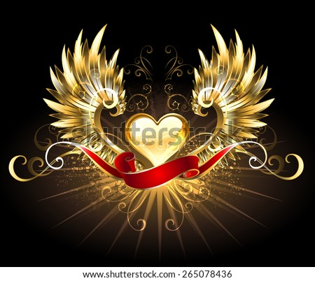 golden heart with golden wings, decorated with a red silk ribbon on a black background - stock vector