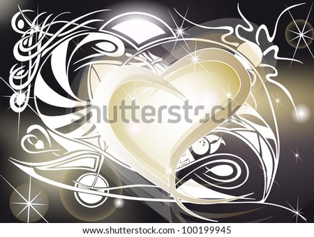 Golden heart with tribal designs, spiral and shining