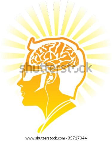 Golden Human Brain modern man glossy illustration - stock vector