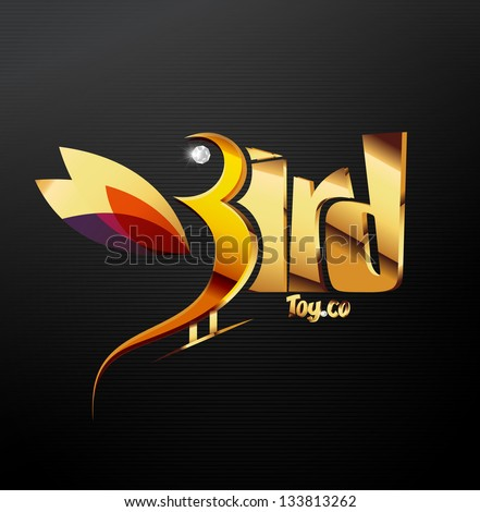 Golden illustration of birds, vector - stock vector