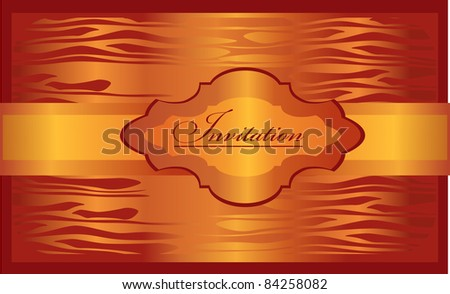 golden invitation on the shining orange background - stock vector