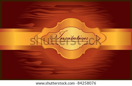 golden invitation on the shining red background - stock vector