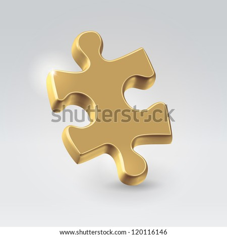 Golden jigsaw puzzle piece hanging alone over light background - business concept illustration. - stock vector