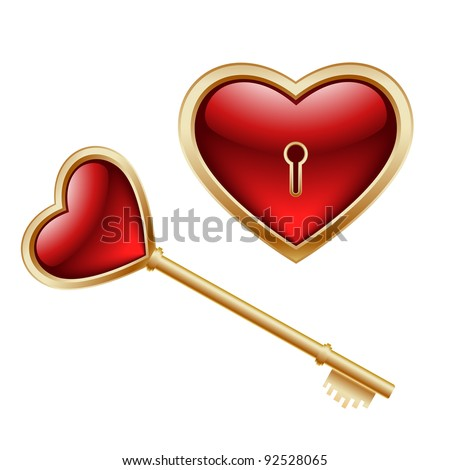 Golden key with a little heart inside and lock as heart - stock vector