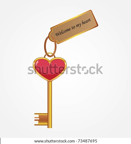 Golden key with tag - stock vector