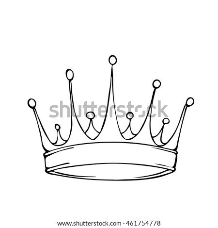 Golden King Crown Hand Drawn Vector Stock Vector 461754778 Drawing King