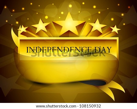 Golden label of Independence Day with ribbon. EPS 10. - stock vector
