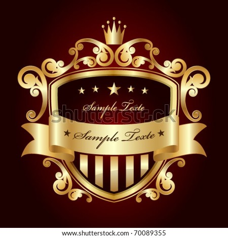 Golden label.Vintage Style with Space for Text.Royal shield with space for text.Luxury attribute. - stock vector