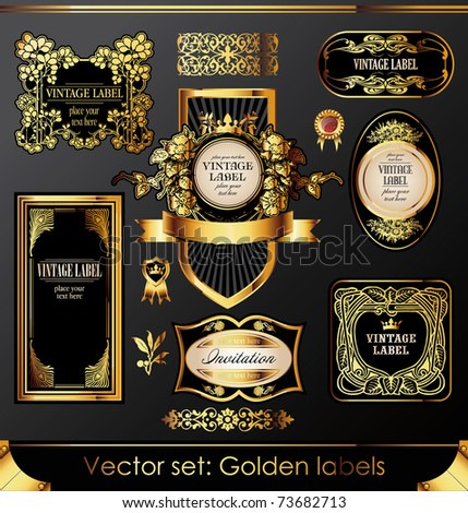 golden labels and design elements set